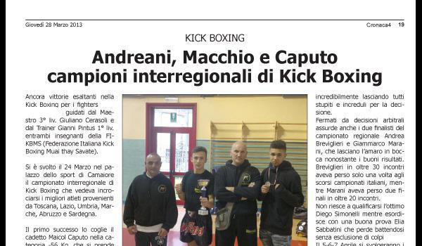 Andreani, Macchio e Caputo campioni interregionali di kick-boxing